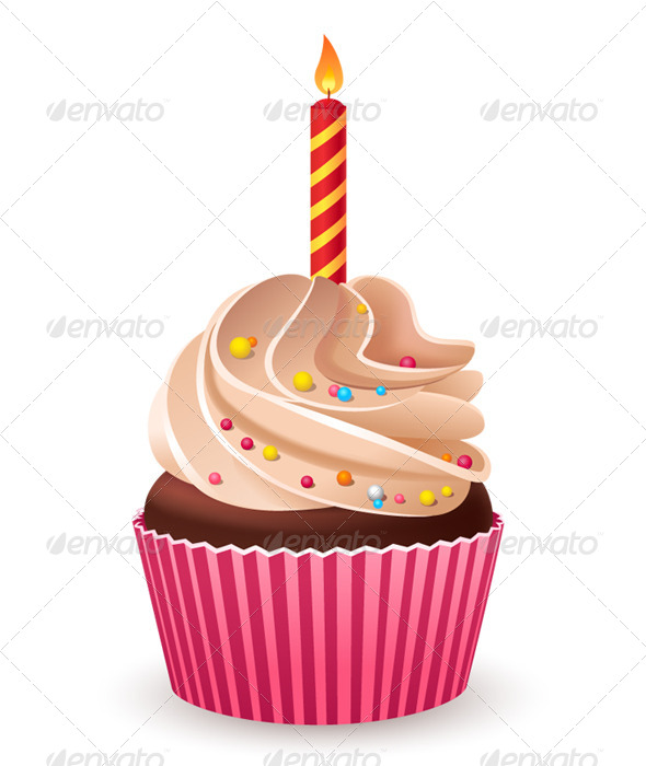 GraphicRiver Birthday Cupcake with Burning Candle 6335198