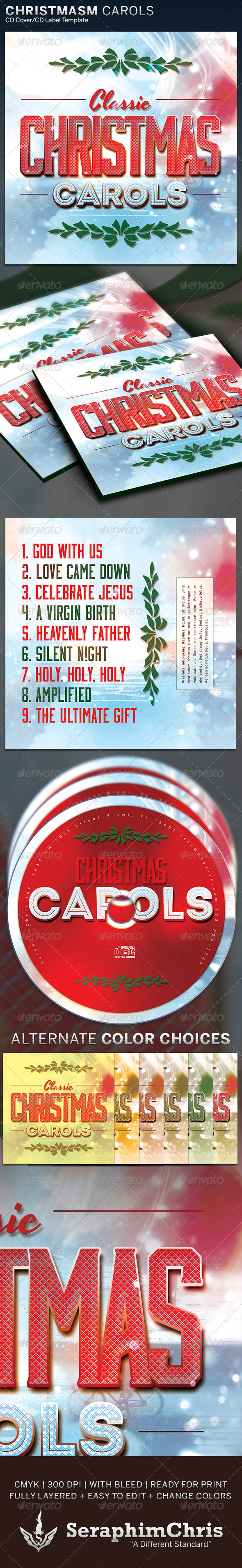 Christmas Carols CD Cover Artwork Template