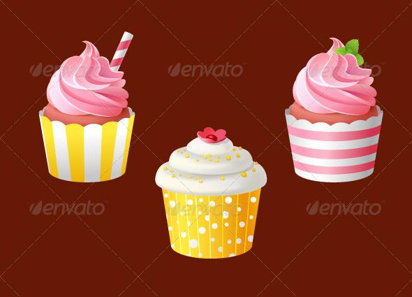 GraphicRiver Set of Celebratory Cupcakes 6335263