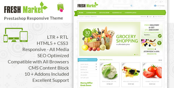ThemeForest Fresh Market Prestashop Responsive Theme 6335375