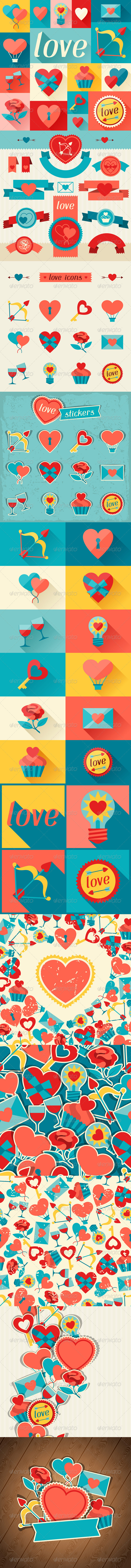 GraphicRiver Valentine s and Wedding Backgrounds and Icons 6336003