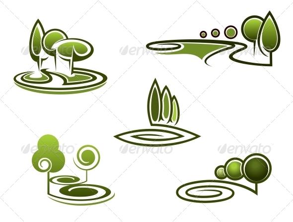 GraphicRiver Green Trees Elements for Landscape Design 6336201