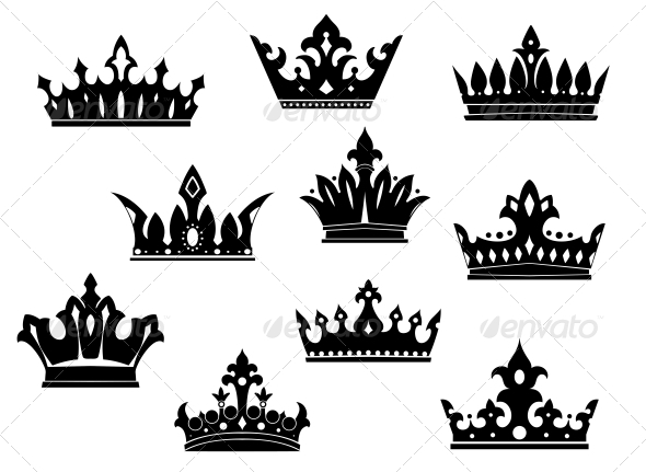 GraphicRiver Black Heraldic Crowns Set 6336221