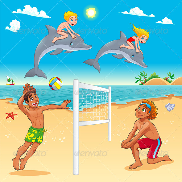 GraphicRiver Funny Summer Scene with Dolphins and Beachvolley 6336235