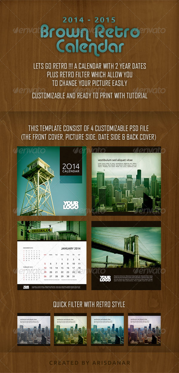GraphicRiver 2014-2015 Brown Retro Calendar 6333862