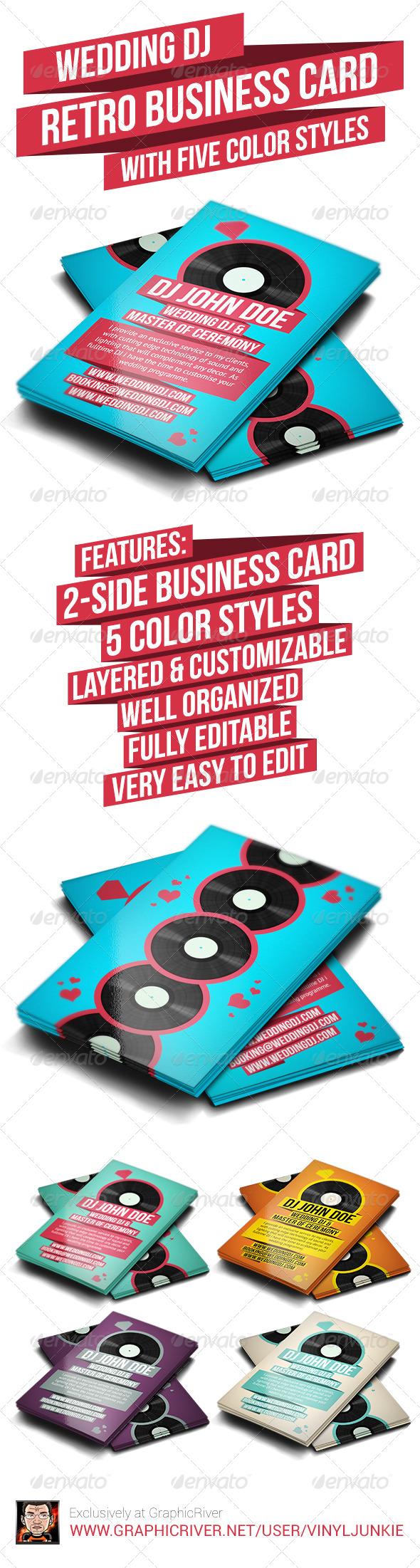 GraphicRiver Wedding DJ Retro Business Card 6307805