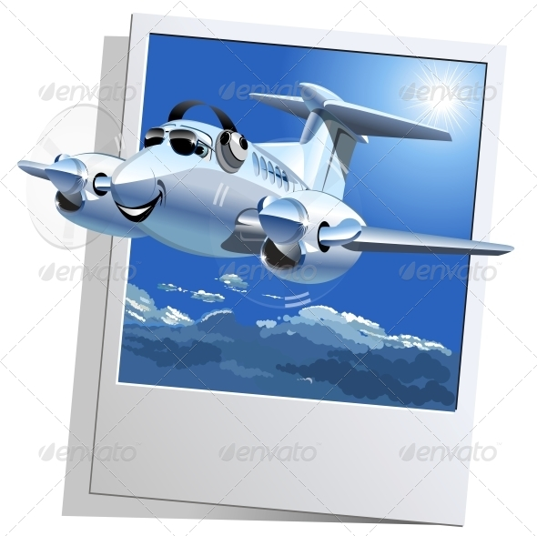 GraphicRiver Vector Cartoon Airplane 6336529