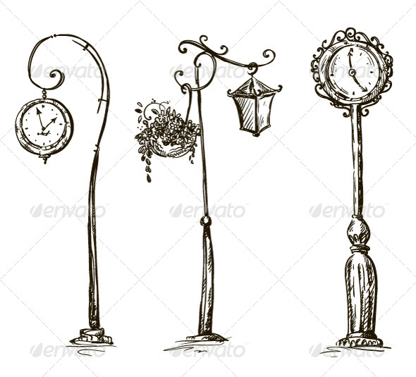 GraphicRiver Street Clocks and a Lamp Post Hand-Drawn 6336553