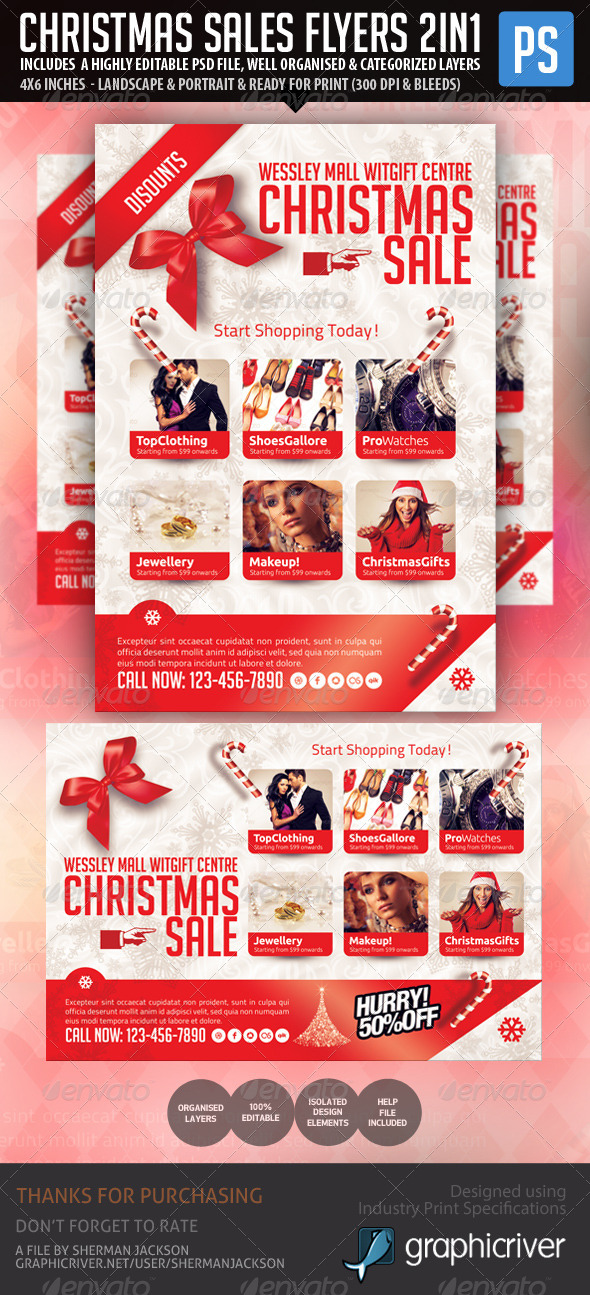 GraphicRiver Christmas Holiday Season Sales Flyer 6336554