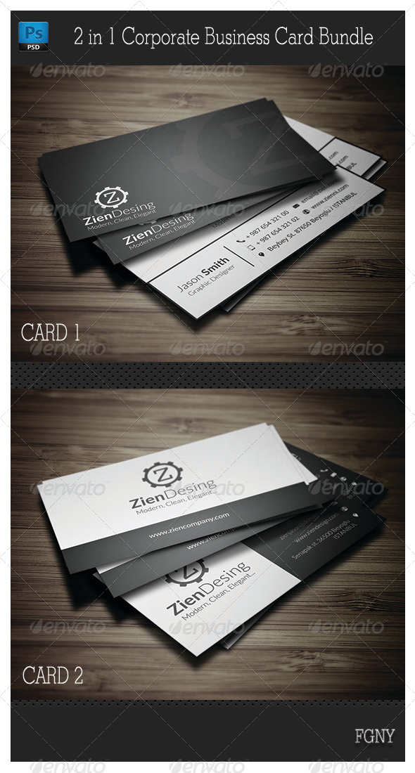 GraphicRiver 2 in 1 Corporate Business Card Bundle 6337103