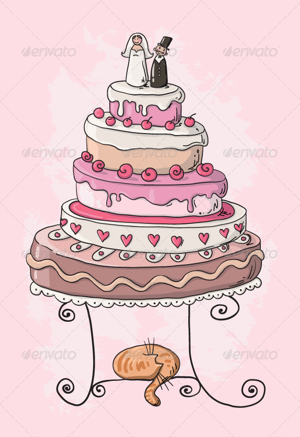 GraphicRiver Wedding Cake Cartoon 6337194