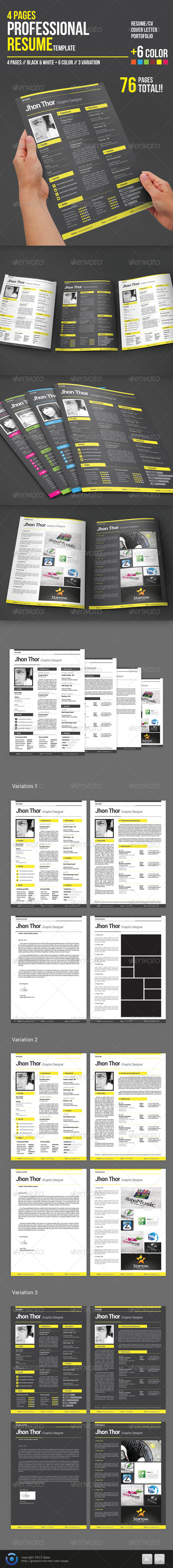 GraphicRiver 4 Pages Professional Resume Template 6316253