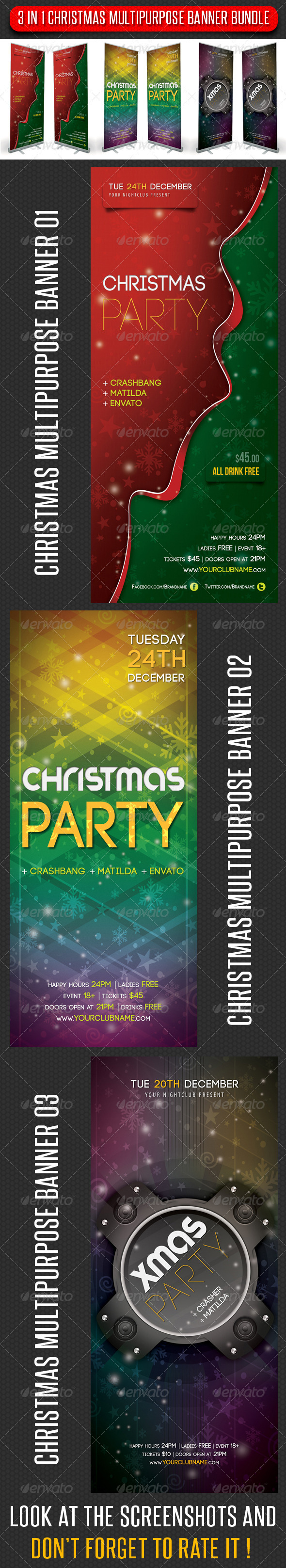 GraphicRiver 3 in 1 Merry Christmas Multipurpose Banner Bundle 6337375