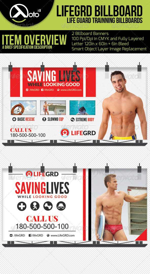 Life Guard Training Billboard - Signage Print Templates