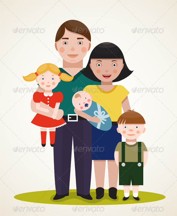Happy Family with Three Children