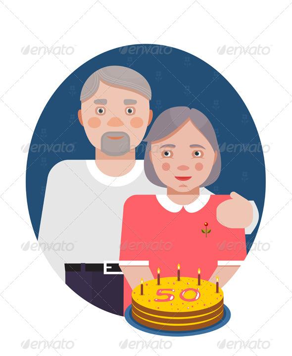 GraphicRiver Grandparents Golden Anniversary Portrait 6338072