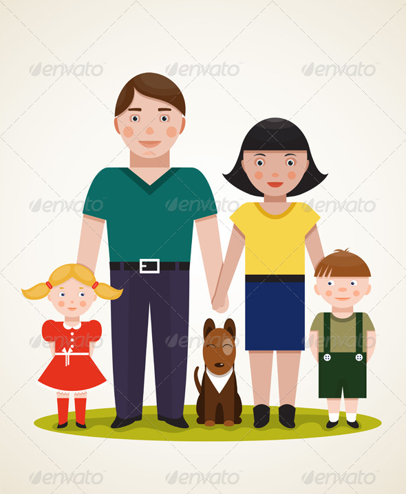 GraphicRiver Happy Family Parents with Two Children and Dog 6338181