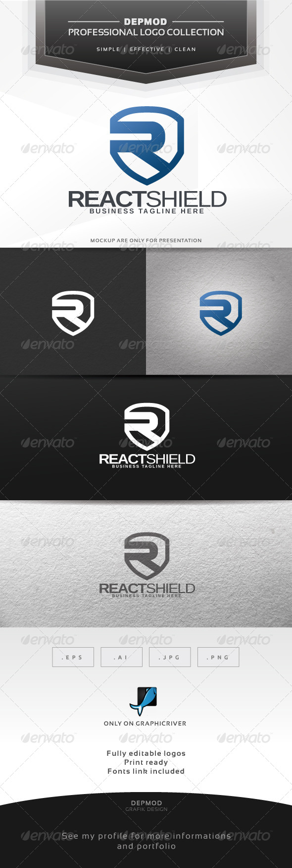 GraphicRiver React Shield Logo 6338417
