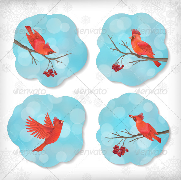 GraphicRiver Winter Christmas Sticker Birds Rowan Tree Branches 6335379