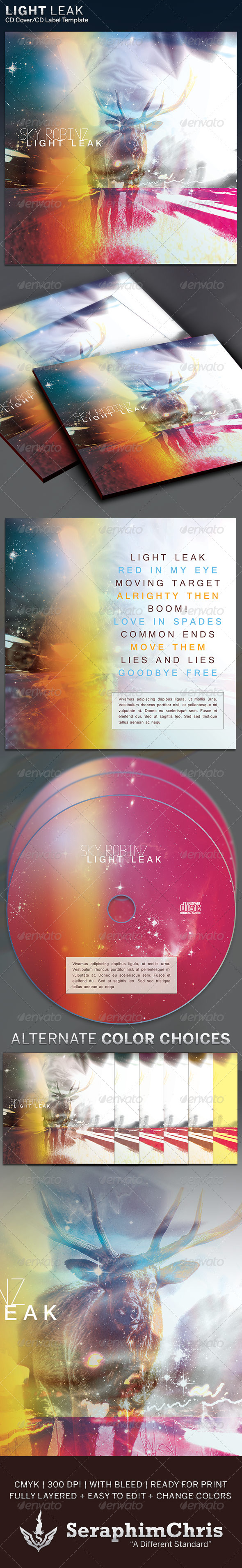 GraphicRiver Light Leak CD Cover Artwork Template 6312605