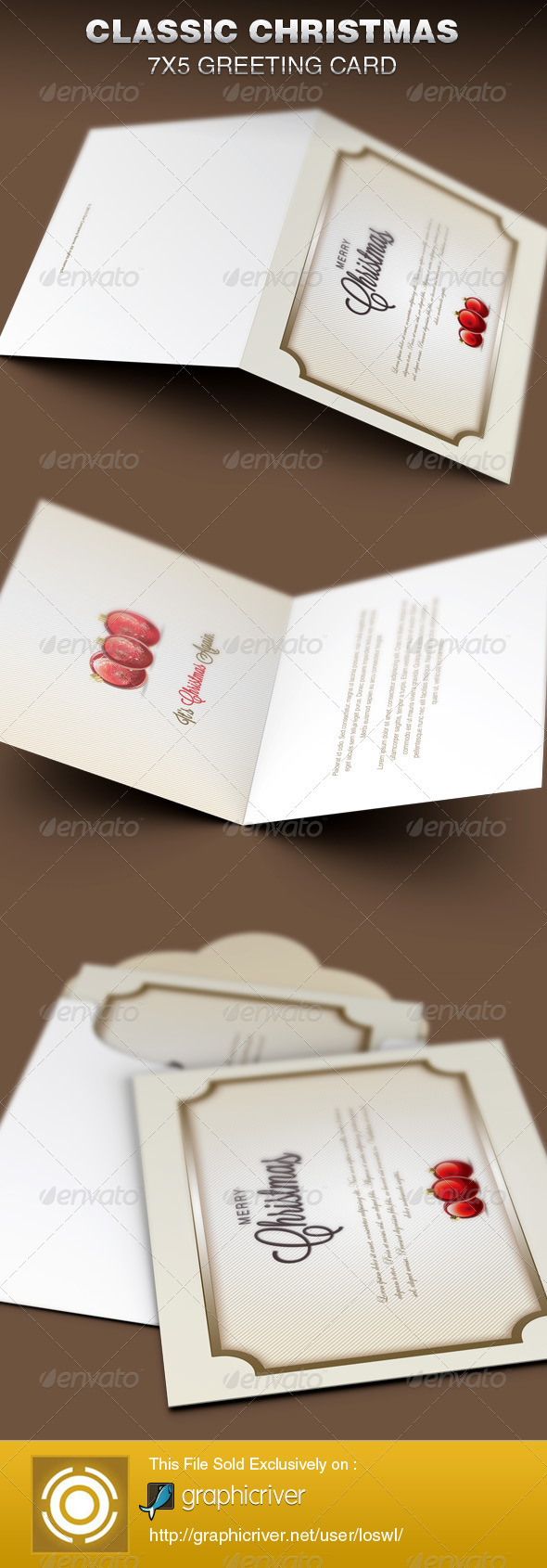 GraphicRiver Classic Christmas Greeting Card Template 6339091