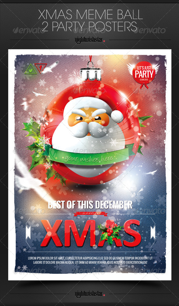 GraphicRiver Santa Christmas Ball Party Flyer Poster 6339250