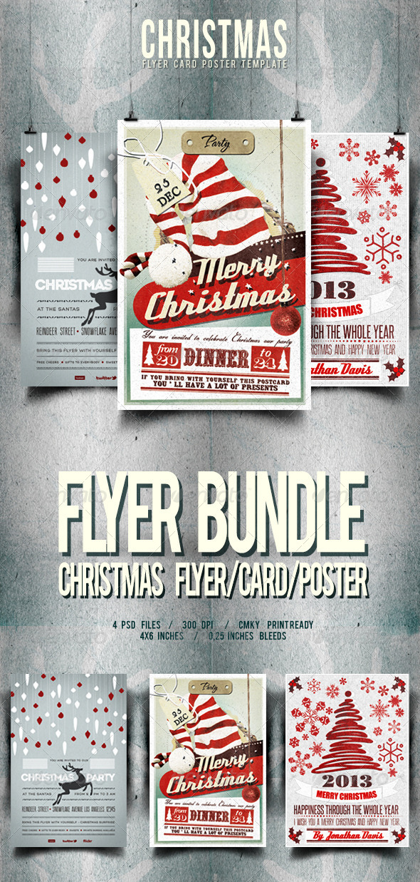 GraphicRiver Christmas Flyer Card Poster Bundle Vol 1-2-4 6339400