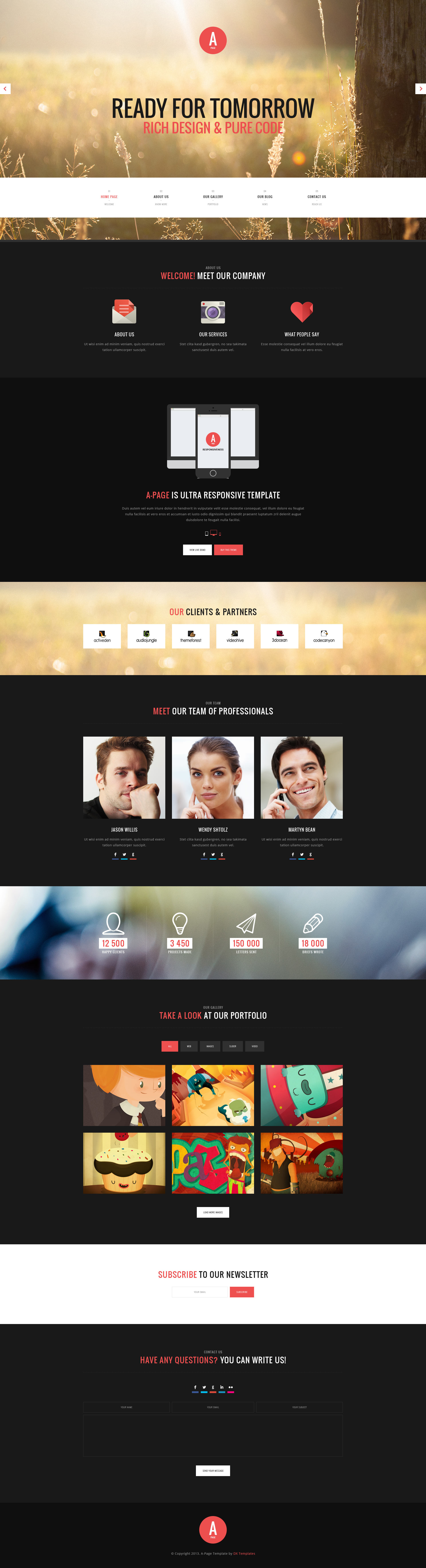 A-Page - Flat Onepage & Multipage HTML Template