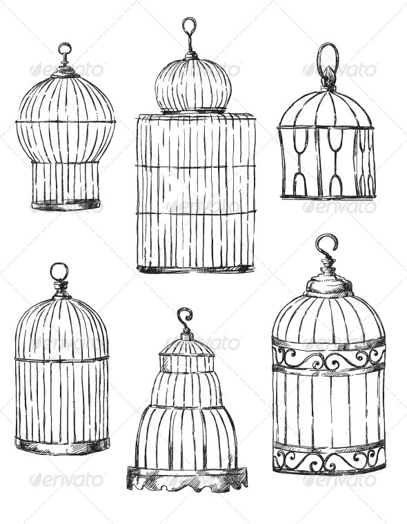 GraphicRiver Set of Different Cages Hand-Drawn 6339916