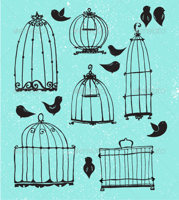 GraphicRiver Set of Doodle Cages and Little Birds 6340008