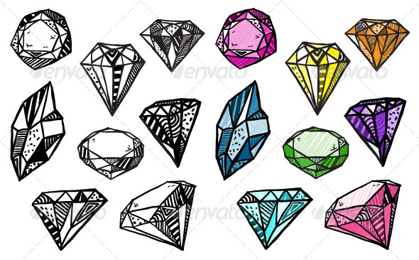GraphicRiver Diamonds Set of Doodle Crystals 6340104