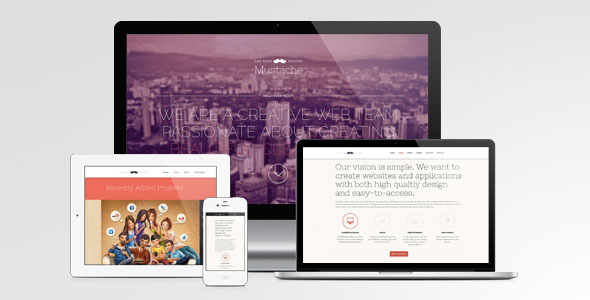 Mustache - Onepage Retina WordPress Theme