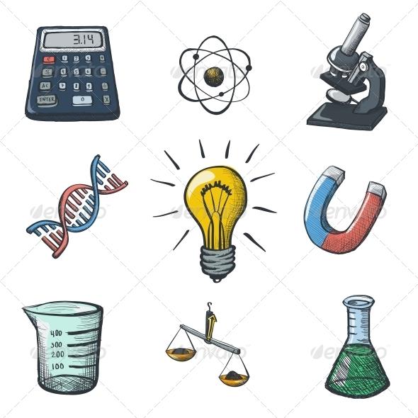 GraphicRiver Color Science Icons Sketch 6340782