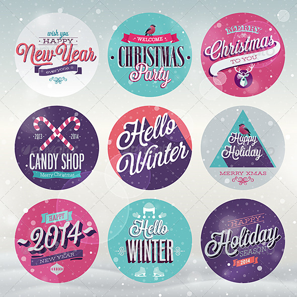 GraphicRiver Christmas Set of Labels and Emblems 6340796