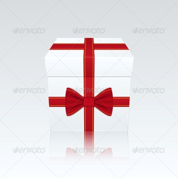 Closed White Gift Box with Red Bow