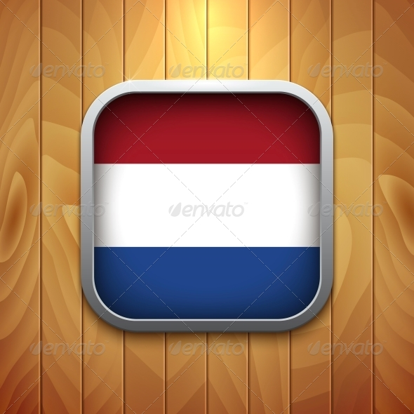 Rounded Square Dutch Flag Icon on Wood Texture.