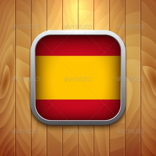 GraphicRiver Rounded Square Spain Flag Icon on Wood Texture 6341052
