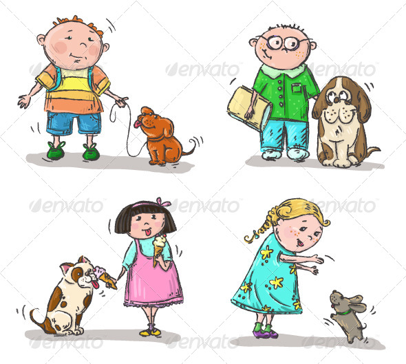 GraphicRiver Children with Their Dogs 6341078