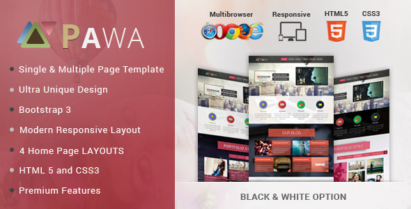 PAWA Creative Bootstrap HTML Premium Web Template