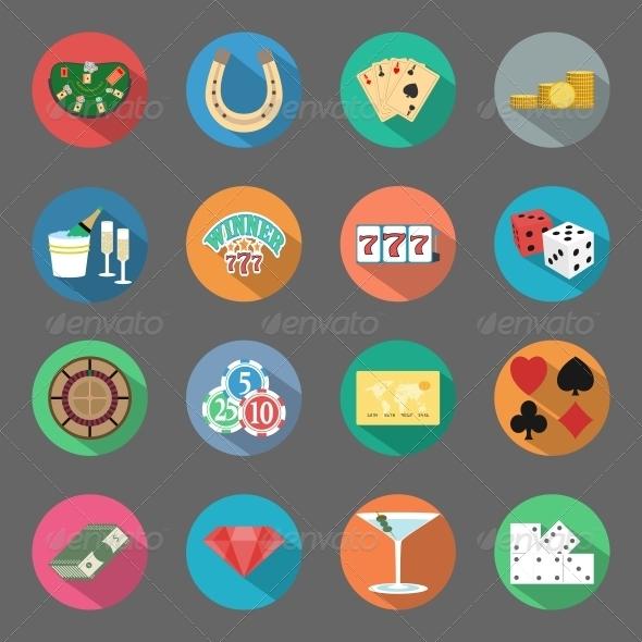 GraphicRiver Casino Flat Icons Set 6341150