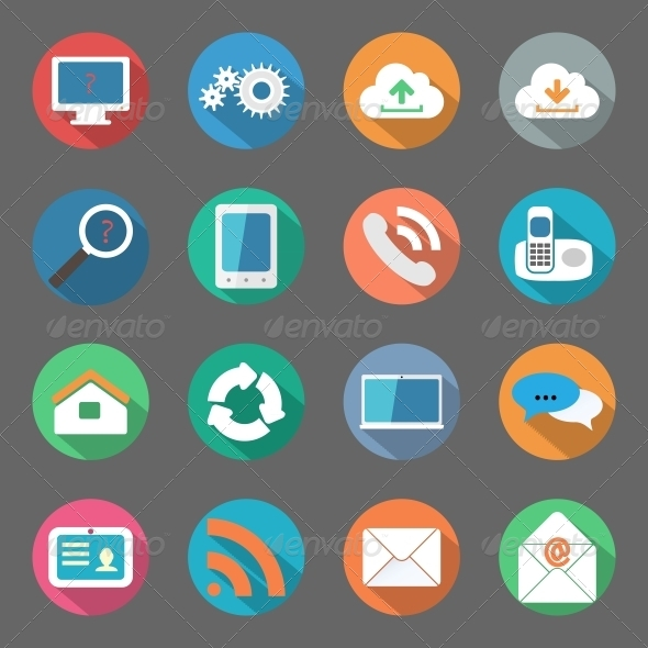 GraphicRiver Communication Icons Set Flat Design 6341151