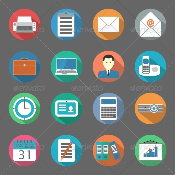 GraphicRiver Office Flat Icons Set 6341153