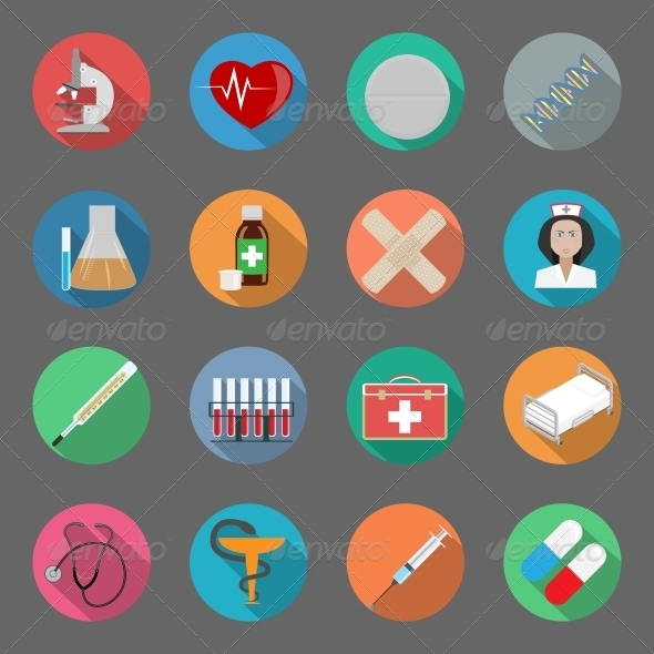 GraphicRiver Medicine Flat Icons Set 6341154