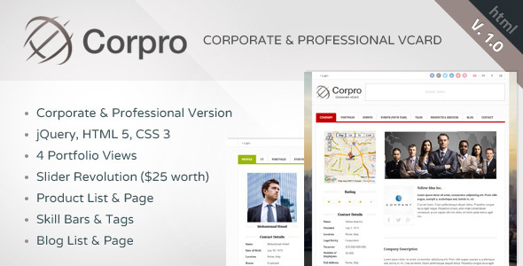 ThemeForest Corpro Corporate & Professional vCard Template 6332843