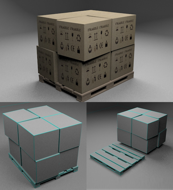 Pallet & Boxes - 3DOcean Item for Sale