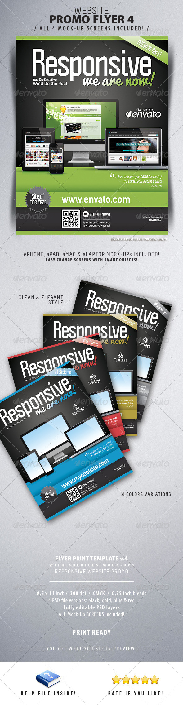Website Responsive Flyers Template 4 - Commerce Flyers