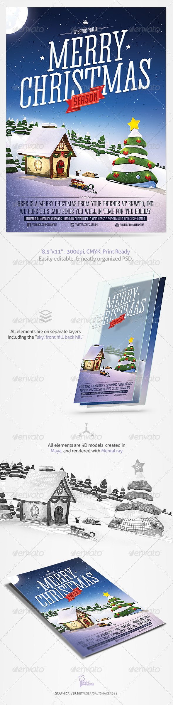 Christmas Greetings Card Template - Holidays Events