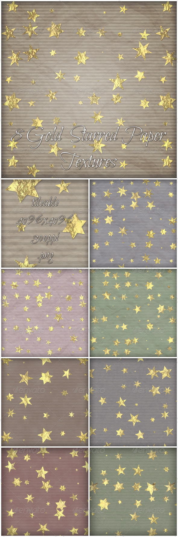 8 Gold starred Paper Textures - Paper Textures