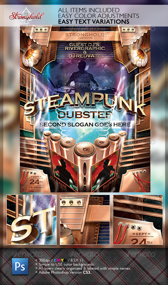 GraphicRiver Steampunk Dubstep Event Flyer Template 6342239