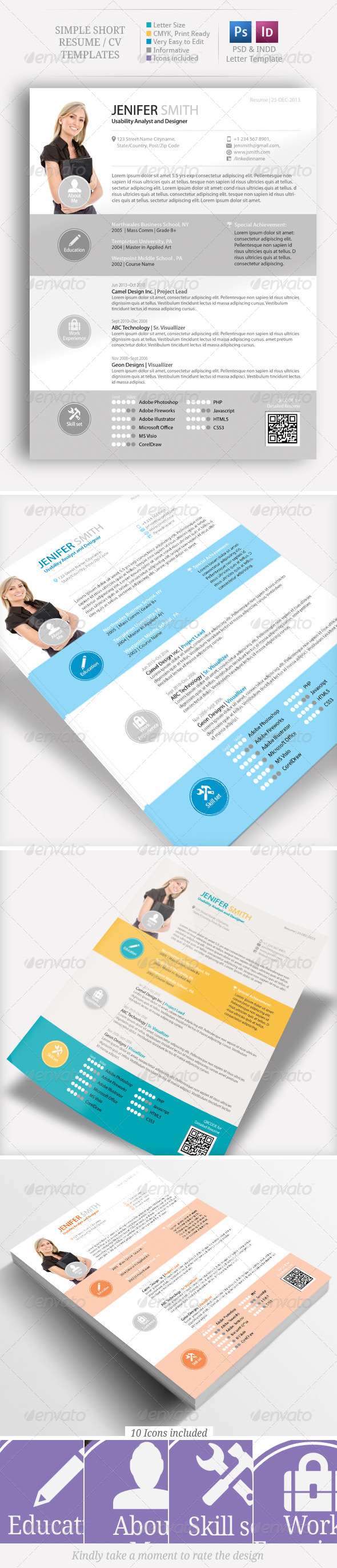 GraphicRiver Simple Short CV Resume Set 6319197